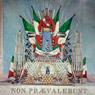 """Fratelli D'Alessandri, """"Non Prevalebunt"""" trofeo fatta in seguito ai fatti di Mentana con le armi tolte ai garibaldini, 1867,  Museo Centrale del Risorgimento di Roma"""